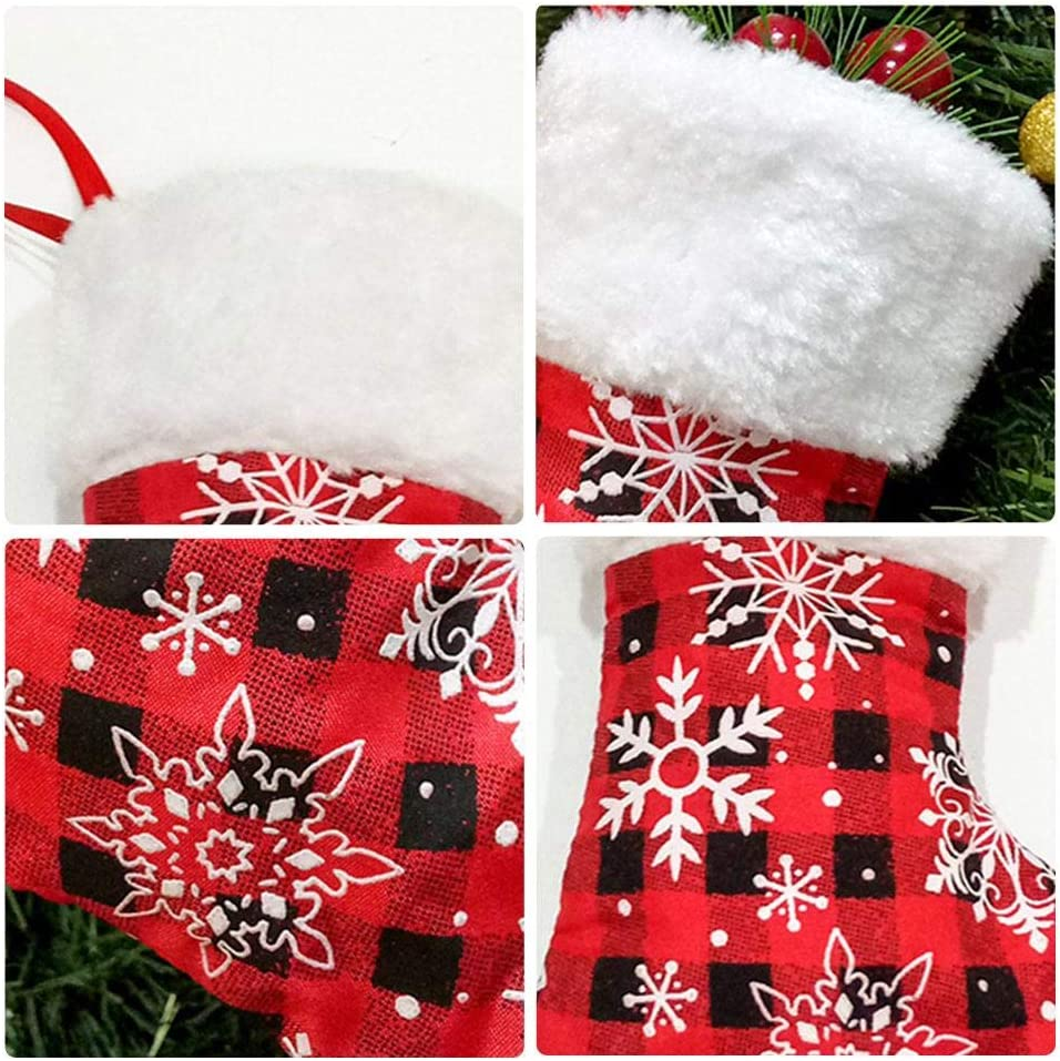 Red Green Small Christmas Stockings,Christmas Mini Stockings,Classic Buffalo Plaid Hanging Plush Socks,Gift Storage Stockings,Christmas Tree Pendant for Christmas Decoration