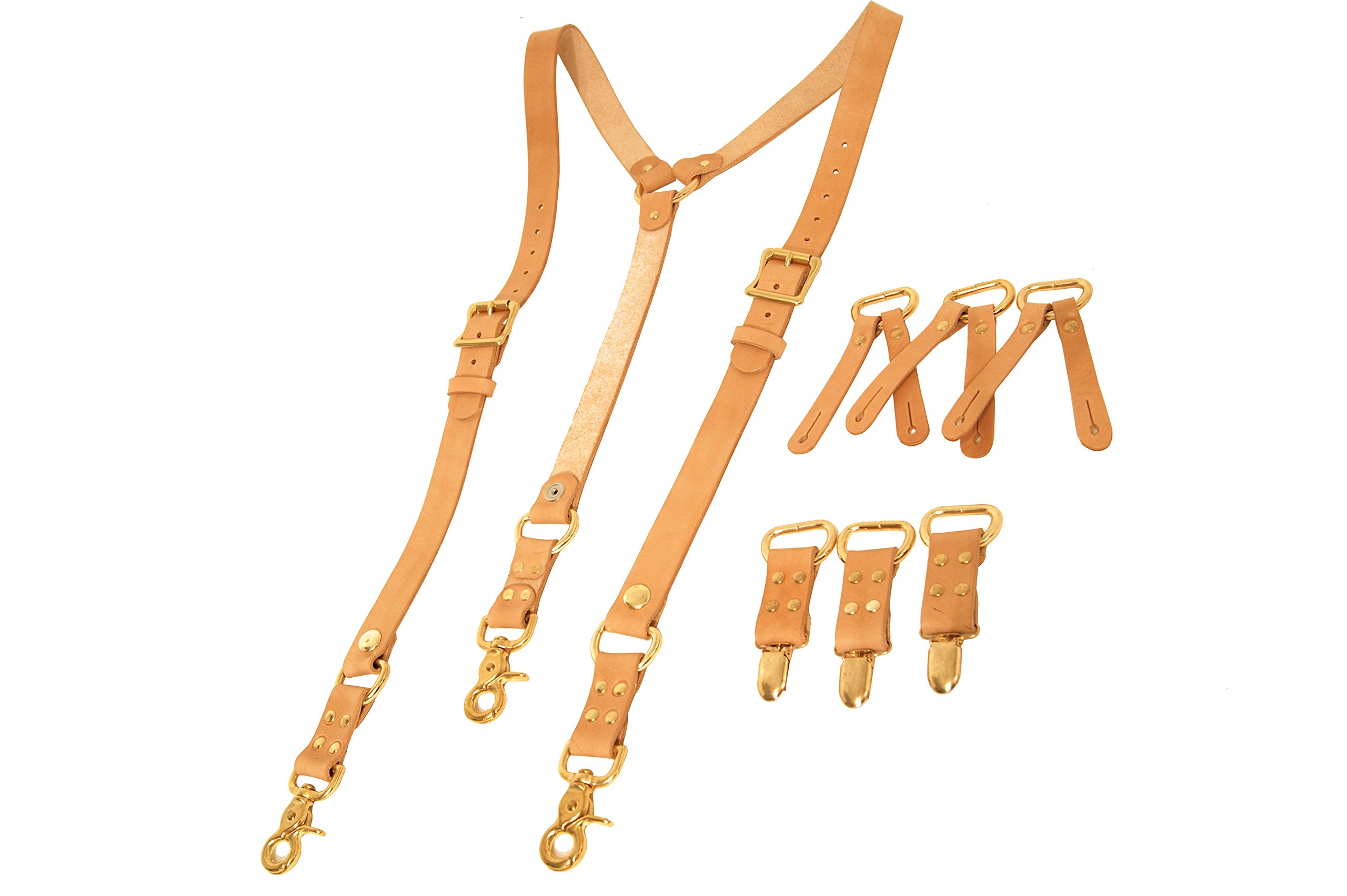 Project Transaction Men's Deluxe Heavyweight Suspenders M/L Natural/Brass