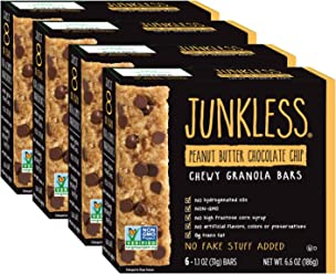 Junkless Chewy Granola Bars, Peanut Butter Chocolate Chip, 1.1 oz, 6 Bars (4 Count)