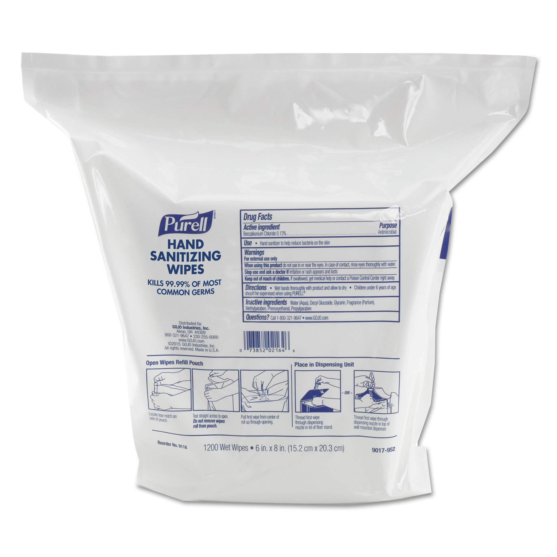 PURELL 911802 Hand Sanitizing Wipes, 6'' x 8'', White, 1200 per Refill Pouch (Case of 2 Refills)