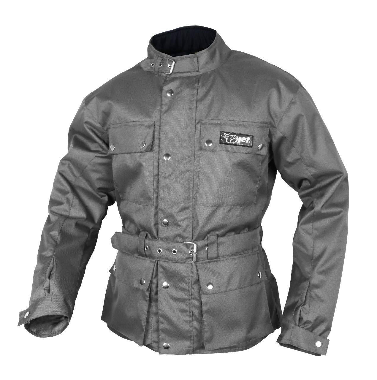 JET Chaqueta Moto Hombre Impermeable Textil con Armadura Vintage Retro Cl/ásico S EU 46-48 , Gris