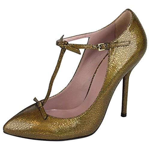 32d66b1bf6194 Amazon.com: Gucci Women's Crackled Bronze Leather T Strap Pumps ...