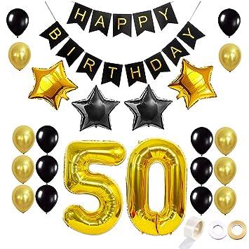 Juland Dorado y Negro 50 Globos de cumpleaños Conjunto Kit ...