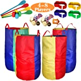 Outdoor Lawn Games Potato Sack Race Bags for Kids and Adults, with Egg and Spoon Race Games, 3-Legged Race Bands, Game Prizes