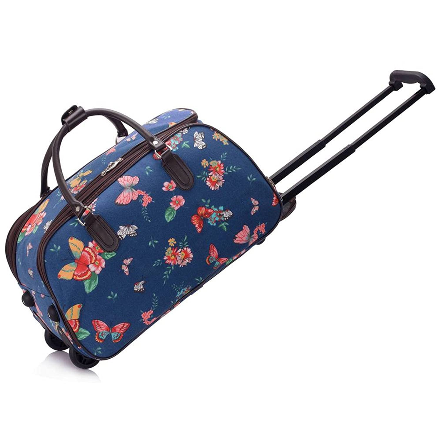 LeahWard Large Size Womens Quality Luggage Ladies Designer Canvas Butterfly Blue Owl Print Travel Bags With Wheel Suitcase Handbags 308