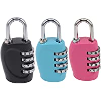 Yilan 3 Pack Luggage Locks Travel Security 4 Digit Combination Padlocks with Alloy Body for Travel Bag, Suit Case, Lockers, Gym, Bike Locks - Black, Rose Red, Blue
