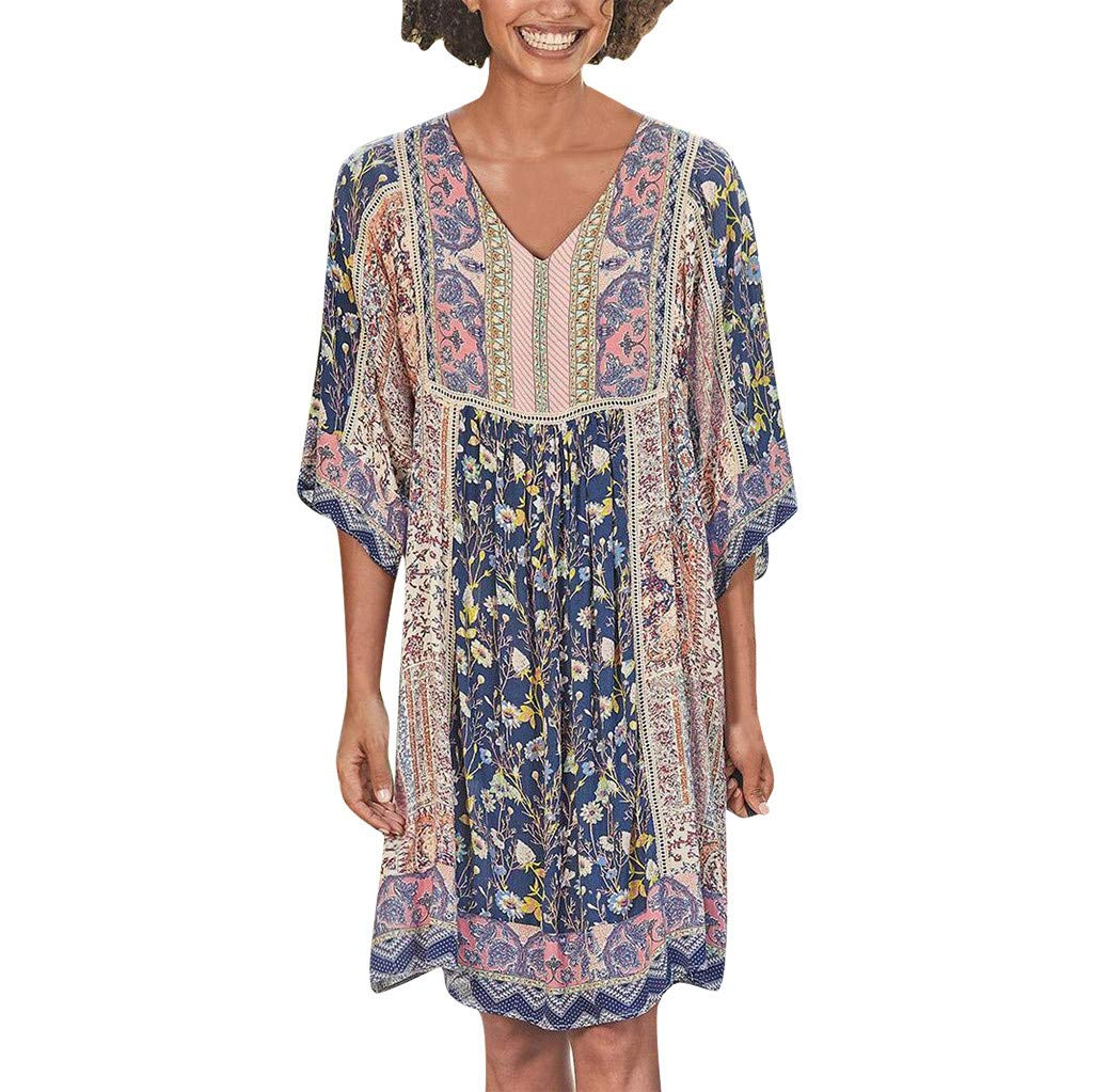 Women Colorful Pleated Dress | Ladies Fashion Plus Size Boho Print V Neck Short Sleeve Midi Dresses | Casual Loose Fit T Shirts Dress