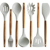 Silicone Cooking Utensils | Wooden Handle, Non-Stick Cookware Heat Resistant Kitchen Utensil Spatula, Slotted & Solid Spoon, Soup Ladle, Slotted Turner and Spaghetti Server,| Acacia Wood