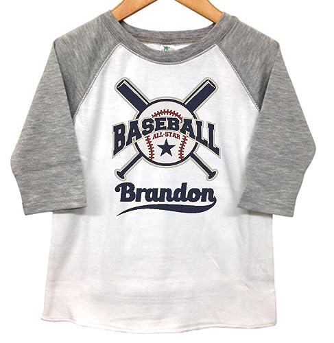 f1d6a9be4 Amazon.com: Kids Toddler Raglan T shirt Tee Grey 3/4 Sleeve Baseball Design  Custom Name: Handmade