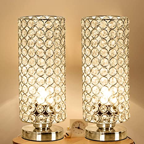 Focondot Crystal Table Lamp Decorative Nightstand Room Lamps Bedside Night Light Lamp Fashionable Small Table Lamp Set Of 2 For Bedroom Living