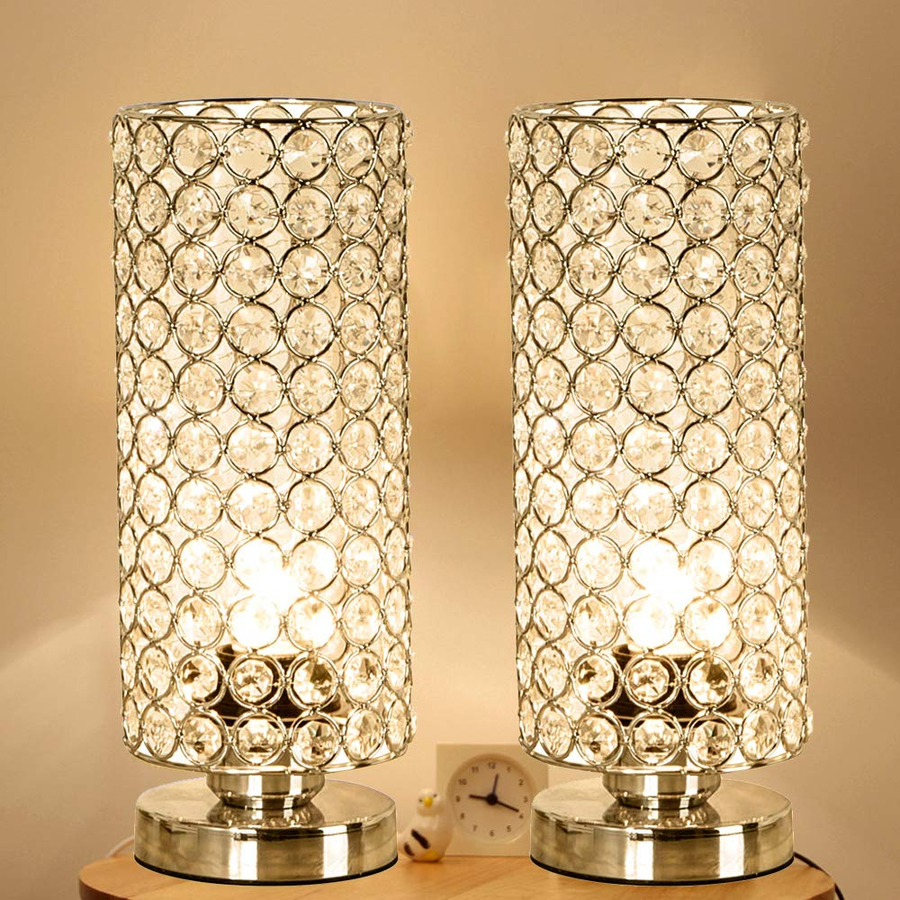 Focondot Crystal Table Lamp, Decorative Nightstand Room Lamps, Bedside Night Light Lamp, Fashionable Small Table Lamp Set of 2 for Bedroom, Living Room, Dresser, Dining Room (2PACK) by focondot