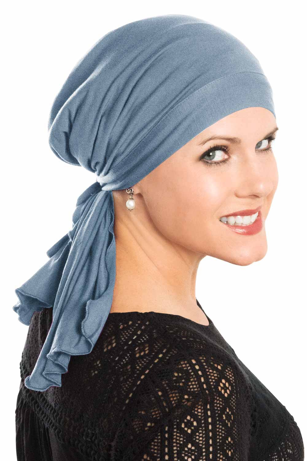 Cardani So Simple Scarf - Pre Tied Head Scarf for Women in Soft Bamboo - Cancer & Chemo Patients Luxury Bamboo - Denim