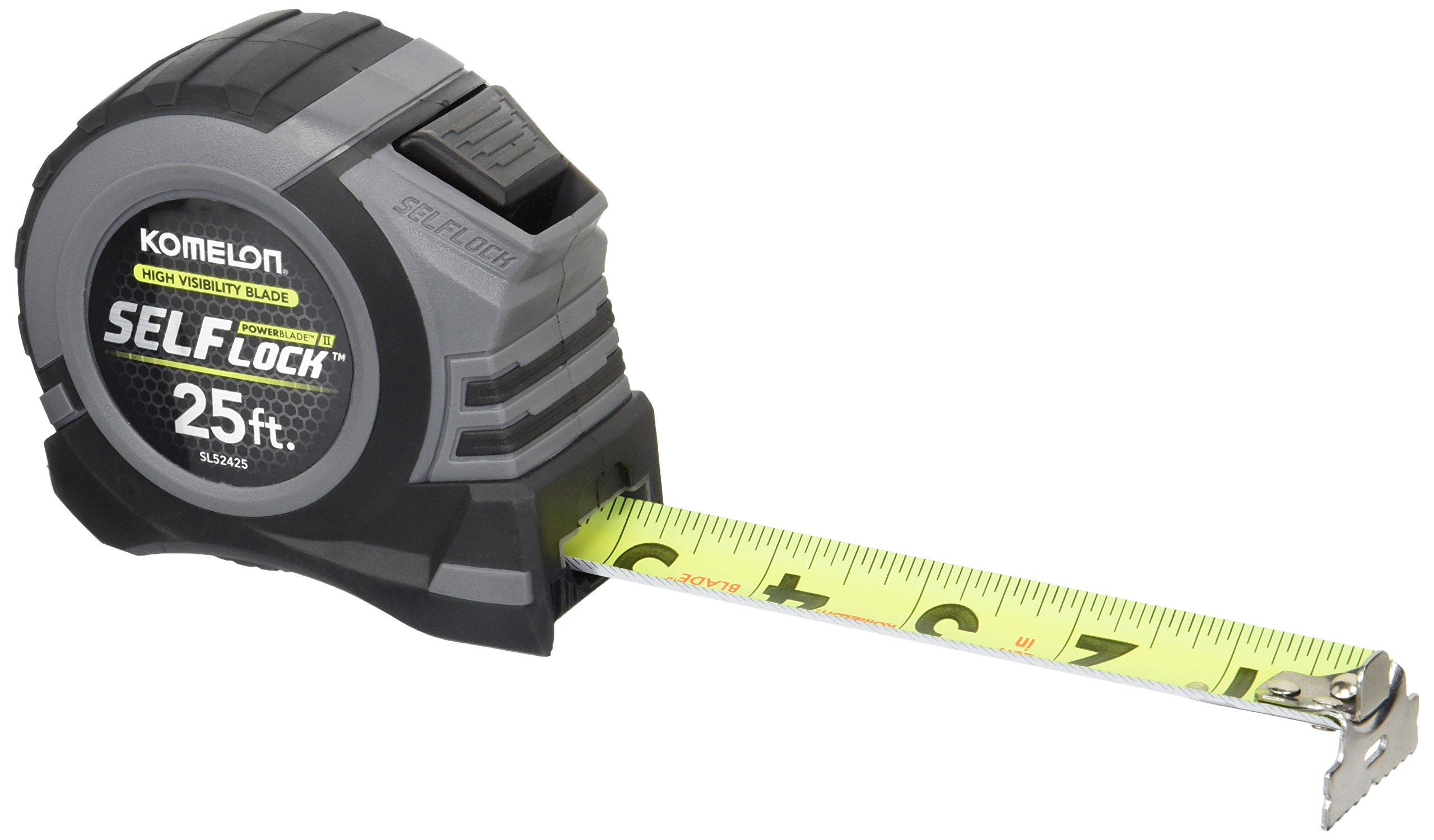 Komelon SL52425 Self Lock Power Blade II, 25', Black/Grey