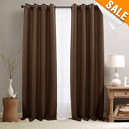 Blackout Curtains 95 Inch Thermal Insulated Room Darkening Window For Living 2 Panels Brown