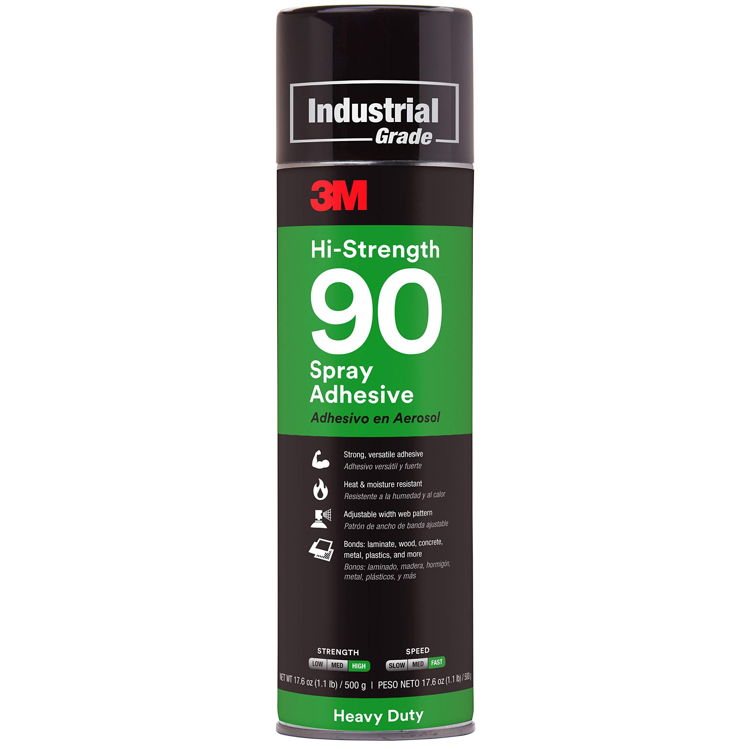 3M Hi-Strength 90 Spray Adhesive, Permanent, Bonds Laminate, Wood, Concrete, Metal, Plastic, Clear Glue, Net Wt 17.6 oz, Will Spray Upside Down