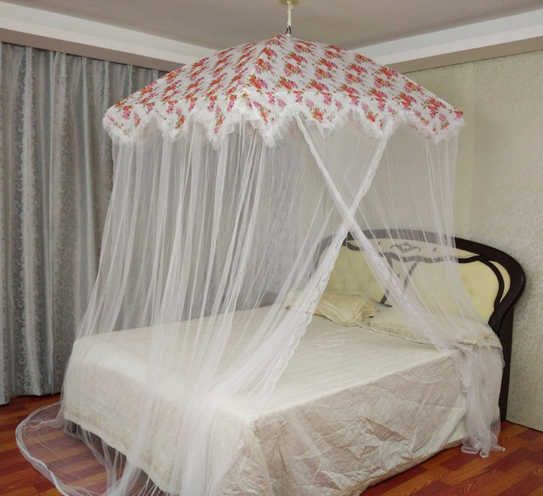 Elegant Romantic Rose Fluctuwave Four Corner Square Lace Princess mosquito net bed canopy & Bed Canopies u0026 Drapes  Bedding Accessories  Bedding
