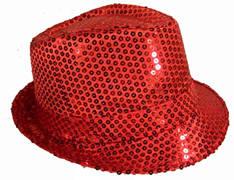 efd2346ecd2 Amazon.com   Red Sequin Fedora Sparkle Party Hat - Men or Womens Fashion Cap    Everything Else