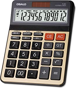 OSALO Desktop Calculator, Check & Correct Function, Golden Metal Panel, 12 Digits Large LCD Display Button Office Calculator (P-20C, Large)