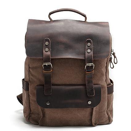 04799c788a Amazon.com: Unisex Vintage Canvas Genuine Leather Laptop Backpack ...
