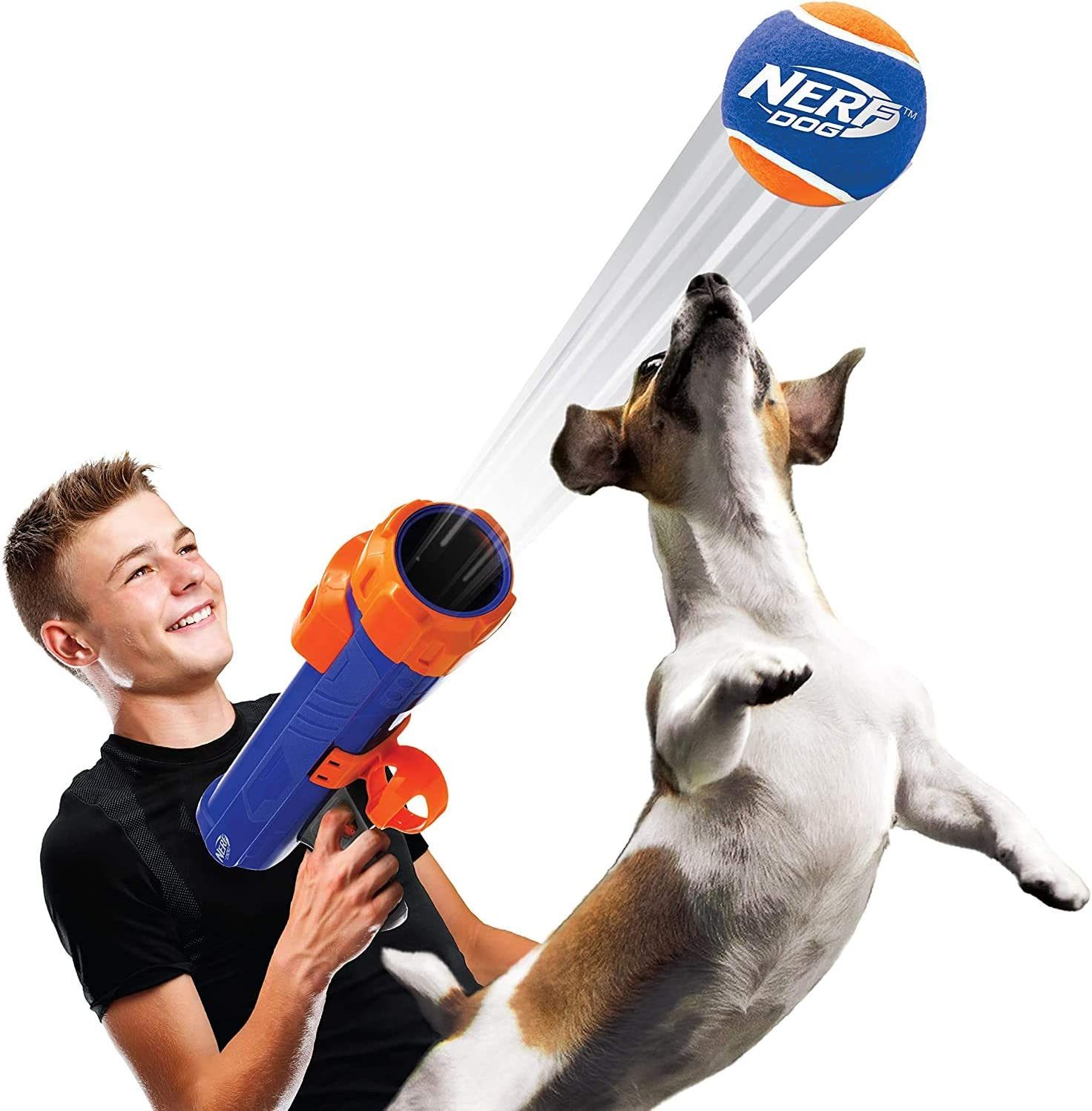 Pet Supplies : Nerf Dog Tennis Ball Blaster Dog Toy, Great for Fetch, Hands-Free Reload, Launches up to 50 ft :