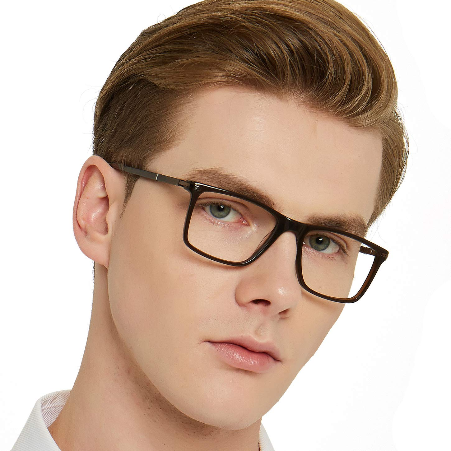 OCCI CHIARI Mens Square Fashion Lightweight Acetate Eyewear Frame with Clear Lens 51mm (Brown)