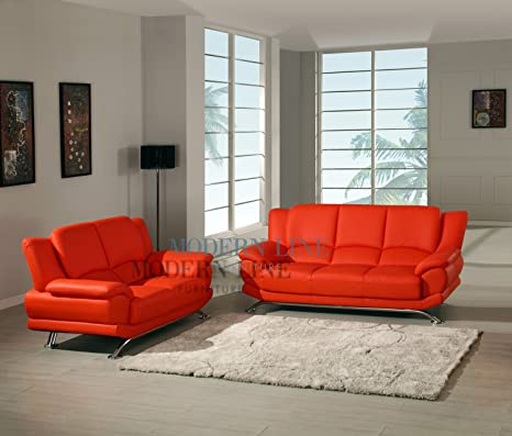 Amazon.com: Modern Red Leather Sofa Loveseat Chair Living ...