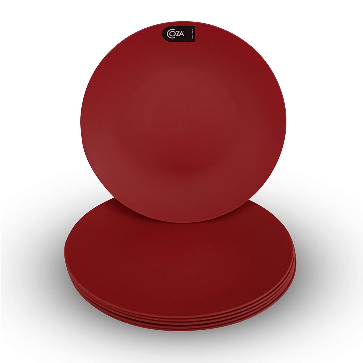 Coza Design- Unbreakable and Reusable Plastic Plate Set- BPA Free- Set of 6 (Bold Red)