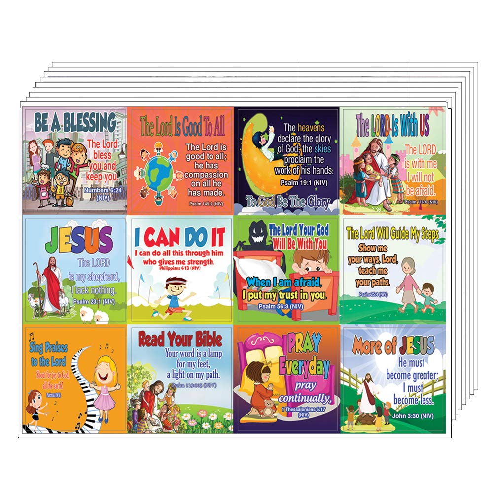 Inspirational Christian Stickers for Kids (10-Sheet) - Fun Religious Stickers for Kids