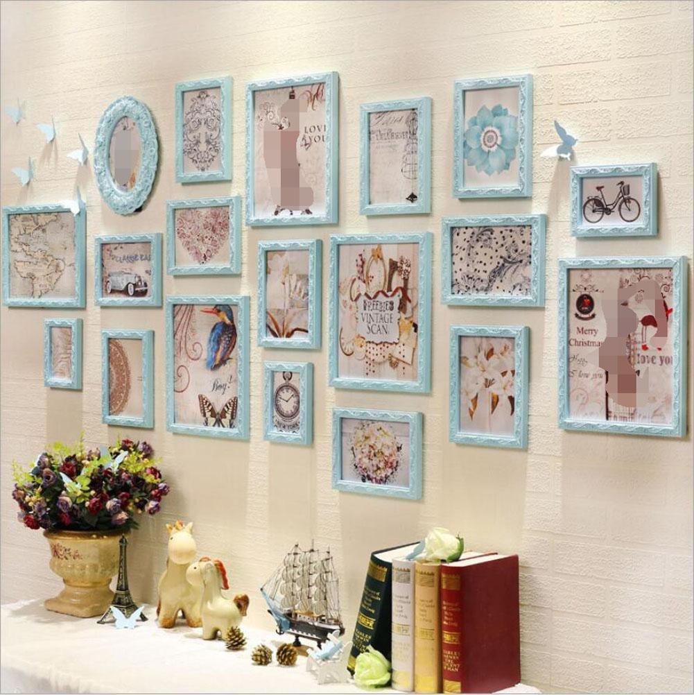 ZZZSYZXL Großflächige Massivholz Fotowand Rahmen 19 Wohnzimmer Café Fotowand kreative Kombination , blue