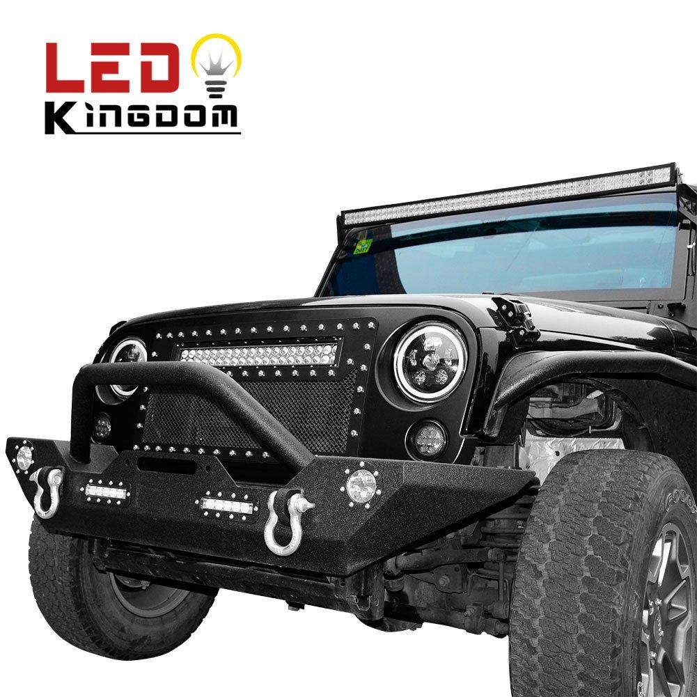 LEDKINGDOMUS 07-18 Jeep Wrangler JK Rock Crawler Front Bumper with LED Light & D rings