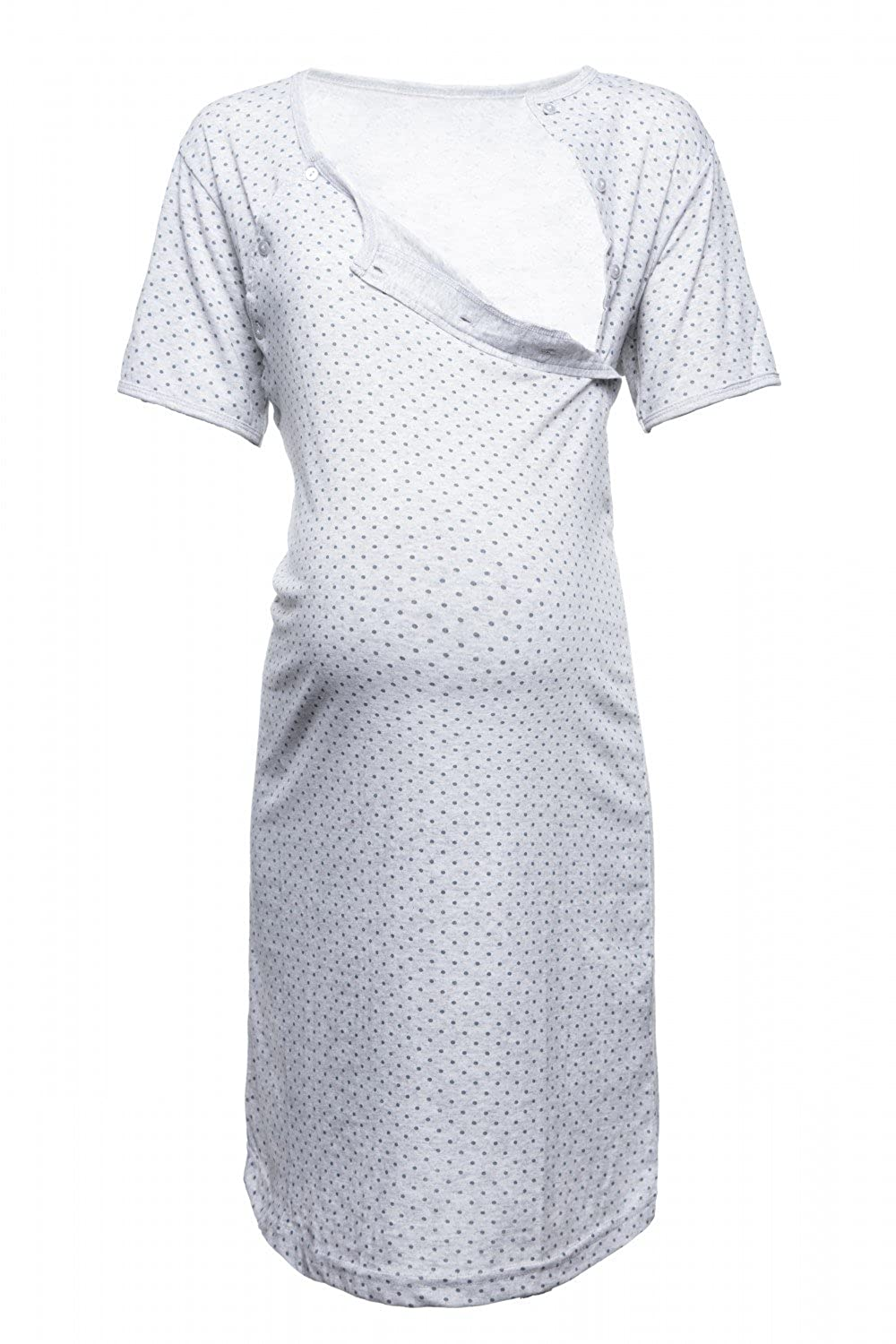 Happy Mama. Womens Maternity Hospital Gown Nightie Polka Dot Breastfeeding. 115p pregnight_115