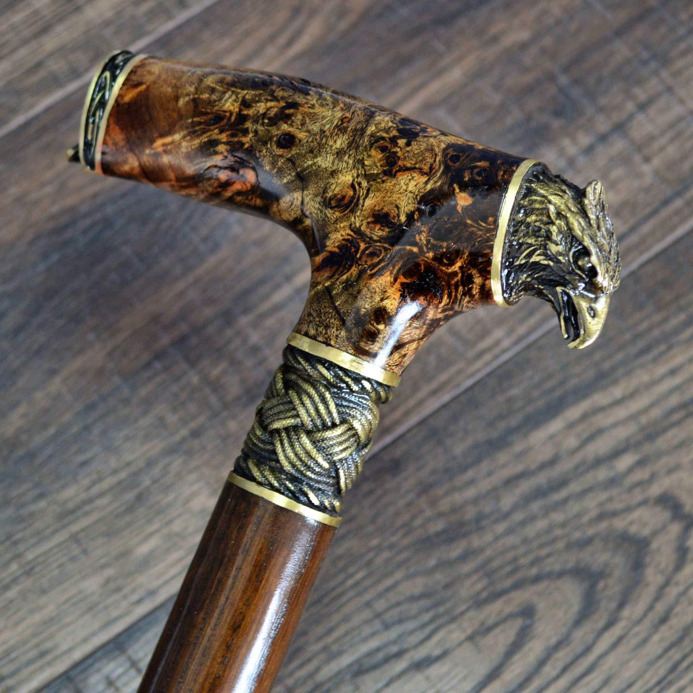 oleksandr.victory Canes Walking Sticks Wood Reeds Bronze Wooden stabilized BURL Handmade Cane Stick Men's Accessories Eagle