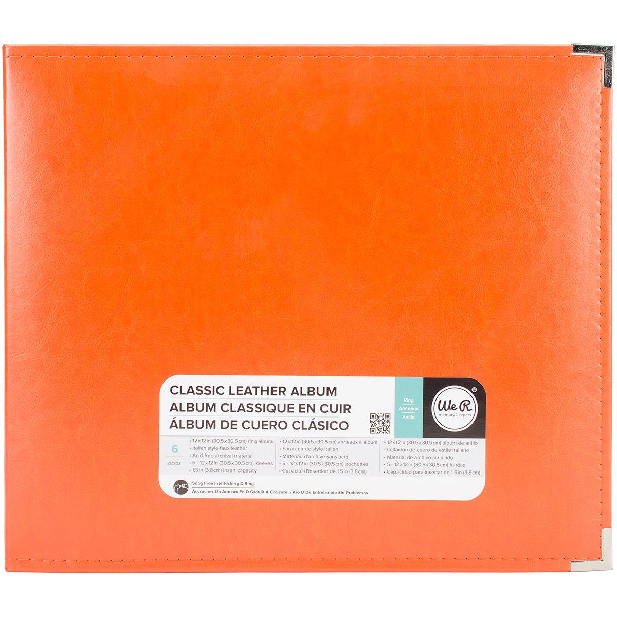 We R Memory Keepers WRRING12-60907 Classic Leather 3 - Ring Album 12 x 12 in. - Orange Soda