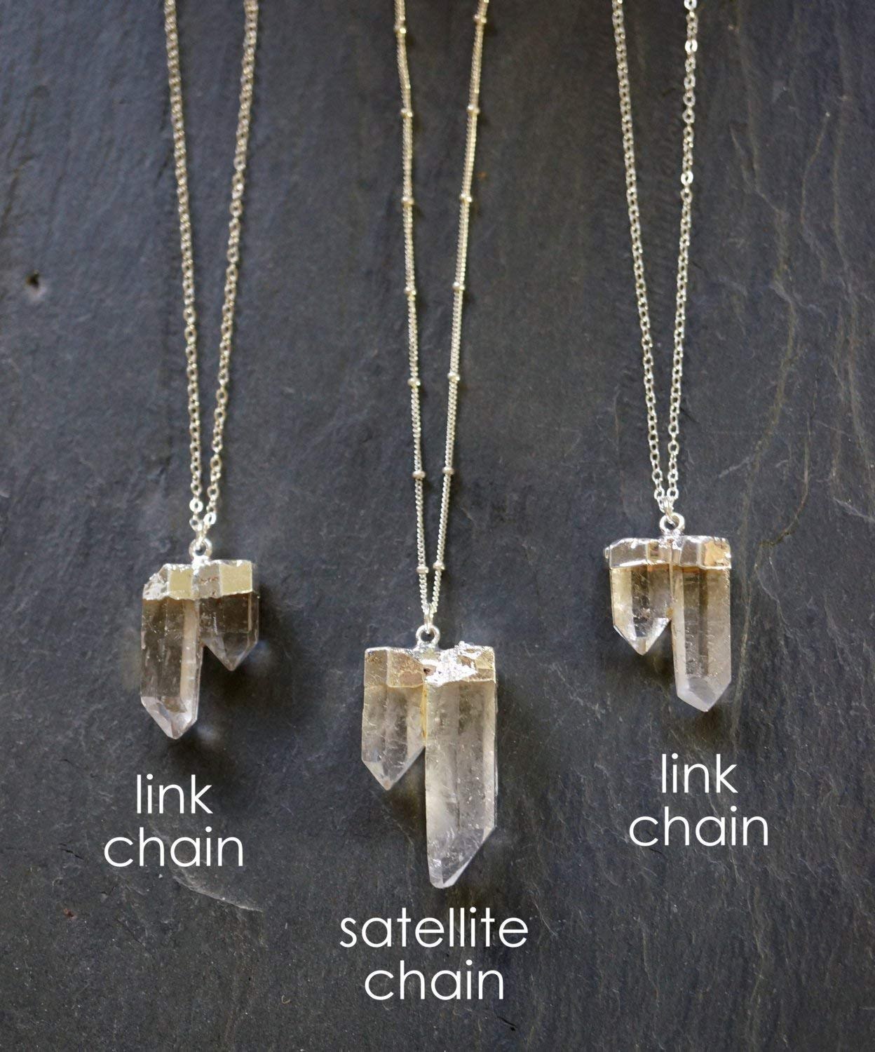 Raw Quartz Crystal Necklace/Quartz Necklace/Double Quartz Points/Custom  Length Chain