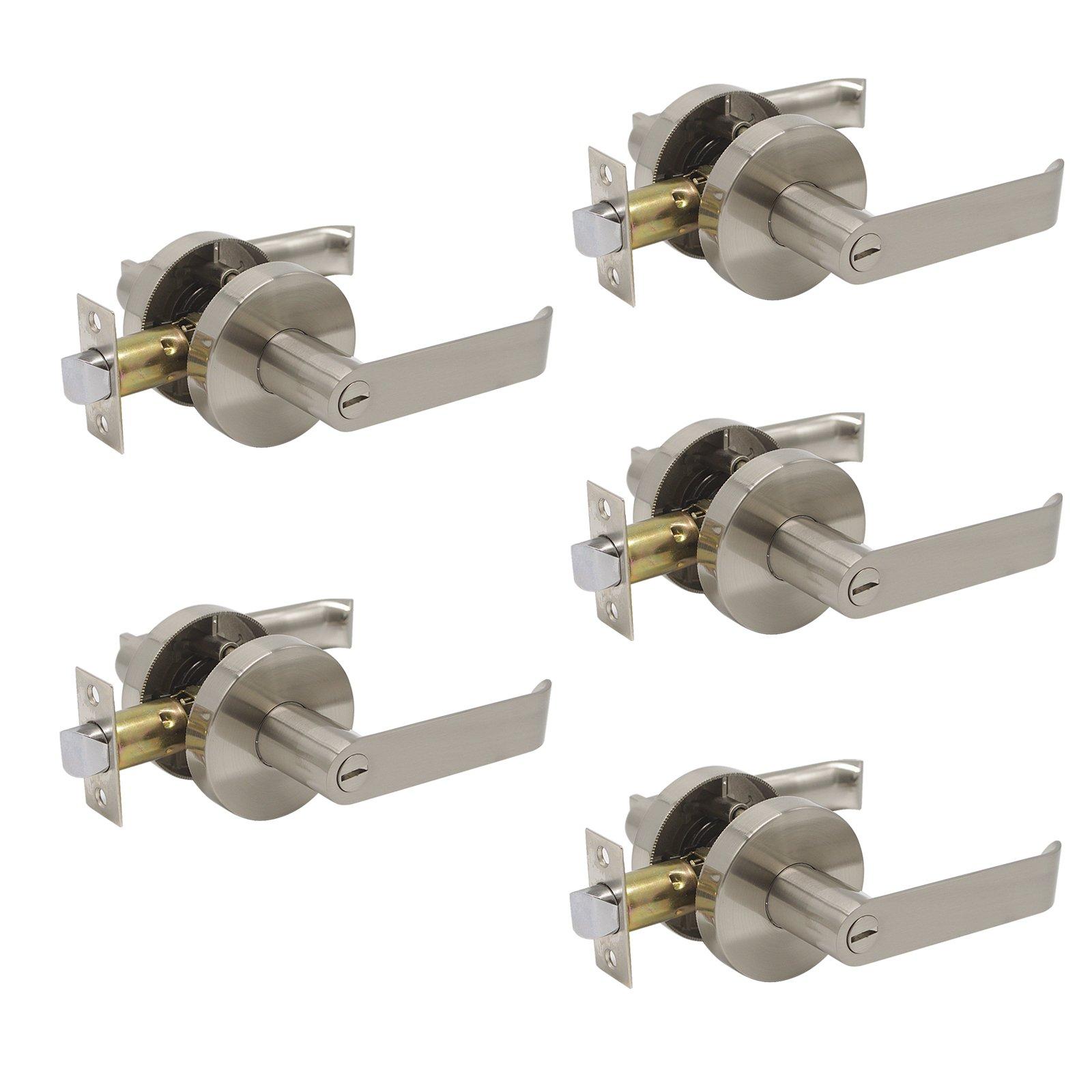 5 Pack Probrico Privacy Door Lever Door Lock Door Handle Hardware Storage Room Bathroom Keyless Round Rose DL102SN , Satin Nickel