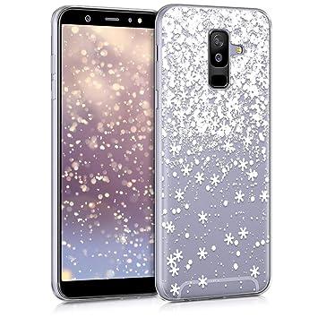 kwmobile Funda para Samsung Galaxy A6+/A6 Plus (2018) - Carcasa para móvil de [TPU] con diseño Gel Brillante - [Blanco/Transparente]