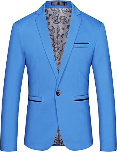 SELX Men One Button Slim Fit Lapel Printed Casual Sport Coat Blazer Jacket