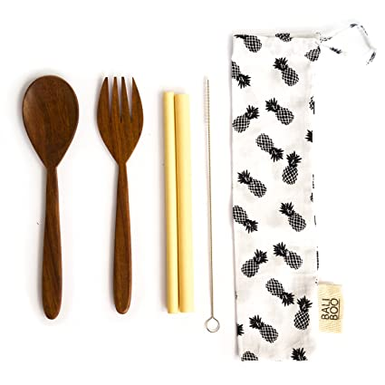 Amazon.com: Wood Cutlery Set by Bali Boo | Travel Cutlery Set | Eco Friendly Flatware Set | Includes 1 Fork, 1 Spoon, 2 Straws,1 cleaning brush and 1 cotton ...