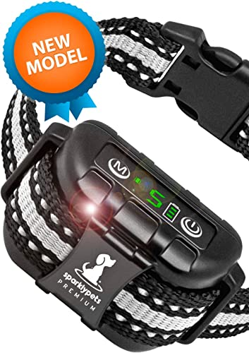 Smart Rechargeable Bark Collar Large Dog Shock Anti Barking Collar for dogs with Beep Vibration, No Harm Shock, 5 Sensitivity Levels Adjustable for Large, Medium or Small Dogs Anti Bark Collar