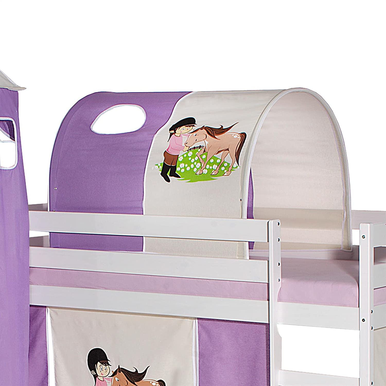 IDIMEX Tunnel für Hochbett Pony Rutschbett Spielbett Kinderbett in lila beige Pferdemotiv