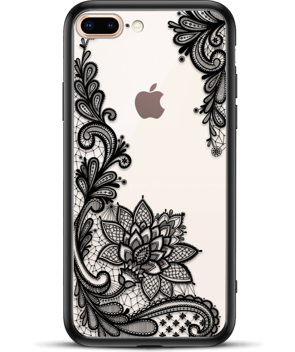 Prosidio Tm   Apple I Phone 8 Plus 7 Plus Case For Girls Women   Matte Clear Phone Case Cute Black Floral Design Shockproof Protective Slim Ultra Thin Hard Back Cover Rubber Bumper Cool Flowers Henna by Prosidio