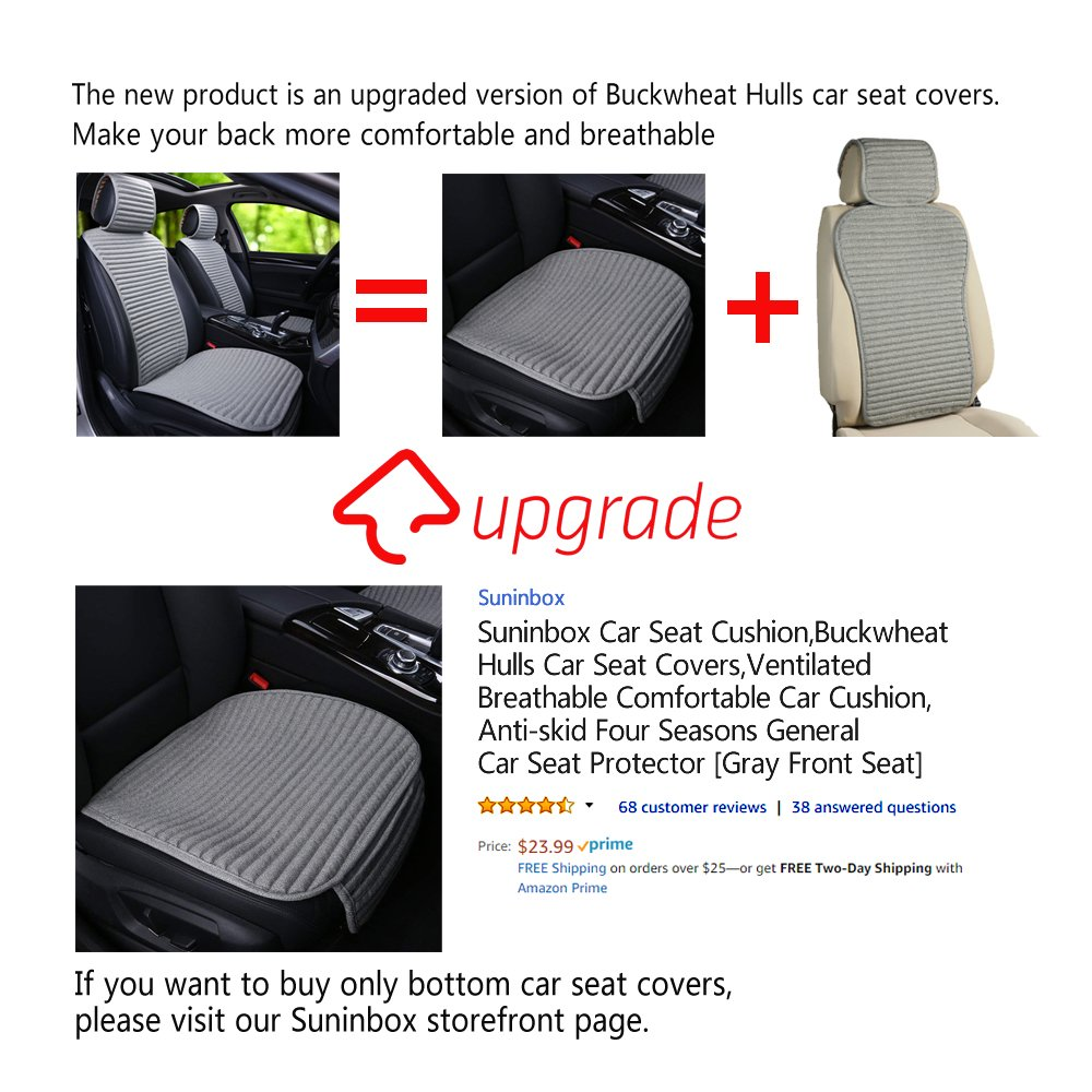 Amazon Car Seat CoversSuninbox Buckwheat Hull Universal Covers Full SetBottom For CarsAir Bag CompatibleBreathable Comfortable