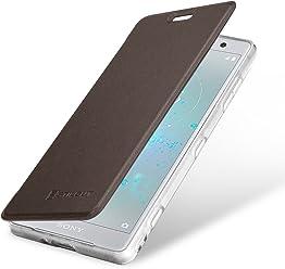 StilGut Book Type Berlin, Housse Sony Xperia XZ2 Compact en cuir de qualité et en TPU avec porte-cartes. Étui flip-case de protection à ouverture latérale avec blockage RFID (RFID/NFC blocker), marron/transparent