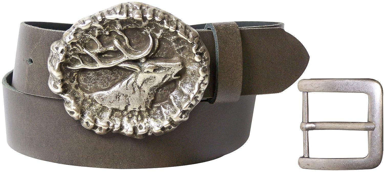 7f5ad45bf74f FRONHOFER Ceinture de costume traditionnel avec boucle à tête de cerf 4cm, Ceinture  traditionnelle bavaroise cerf , ceinture en cuir 100 % véritable, ...