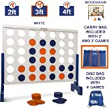 Giant 4 in A Row, 4 to Score - Premium Wooden Four Connect Game Set in White or Wood Grain and 3 Size Options (2', 3', 4') - Oversized Family Outdoor Party Games for Backyard, Lawn, Parties, Bar Game