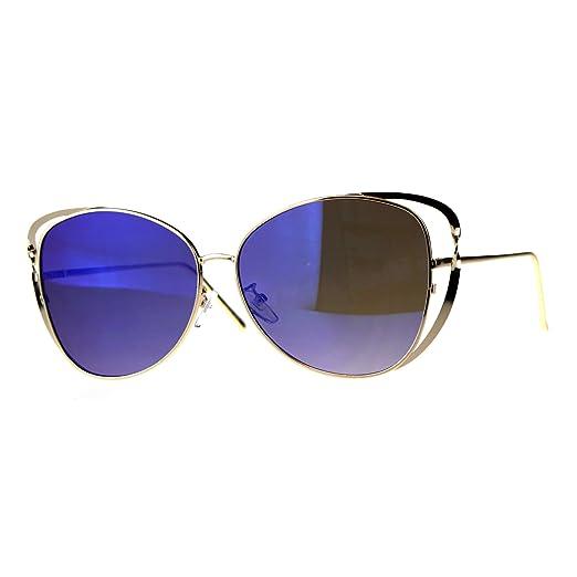9f7ccf4da88 Womens Metal Rim Butterfly Diva Designer Fashion Sunglasses Gold Blue