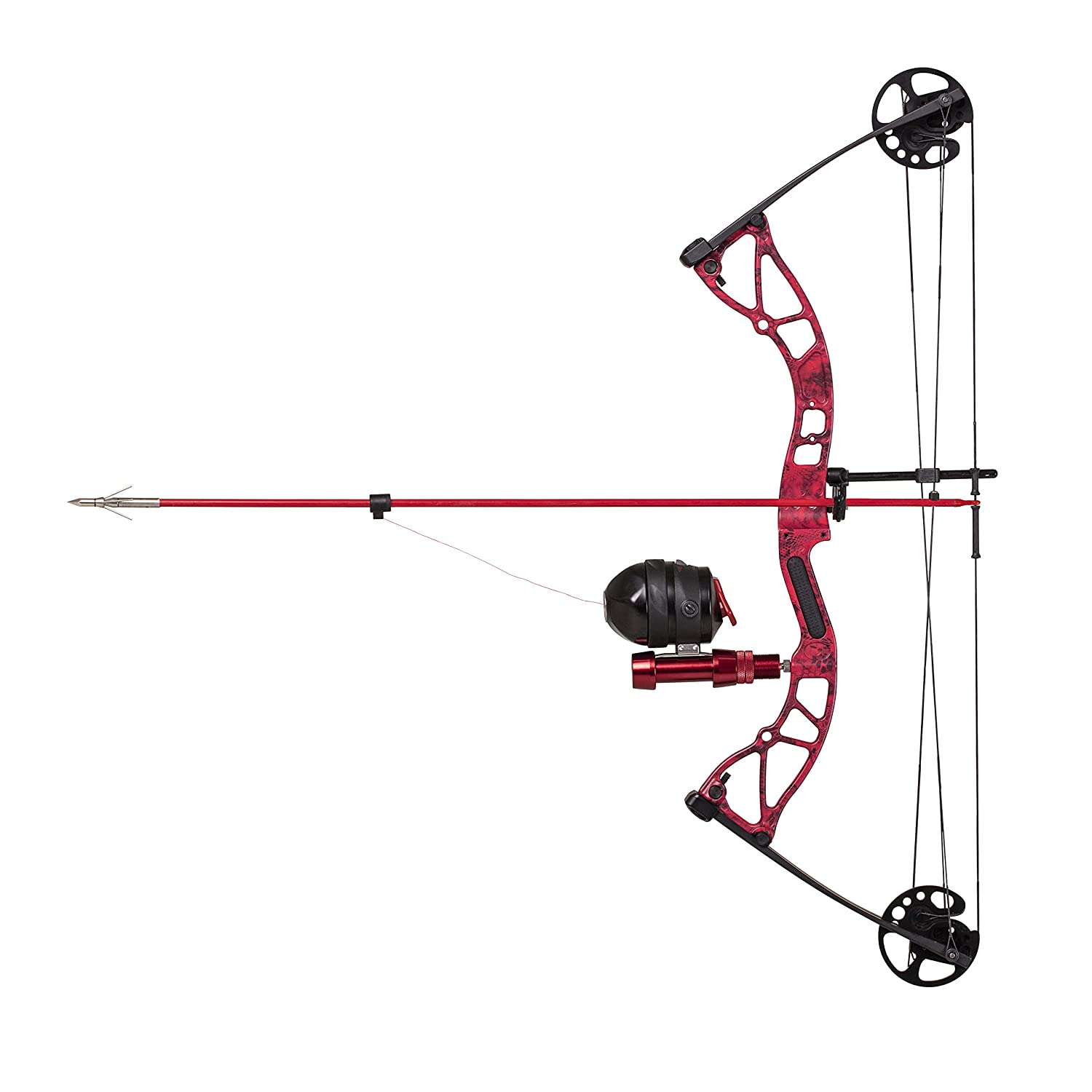 Bowfishing Reel Red//Black Reel Seat Blister Buster Finger Pads Cajun Bowfishing Shore Runner Kit Compound Bowfishing Bow Ready to Fish Kit with Arrow Rest Fiberglass Arrow