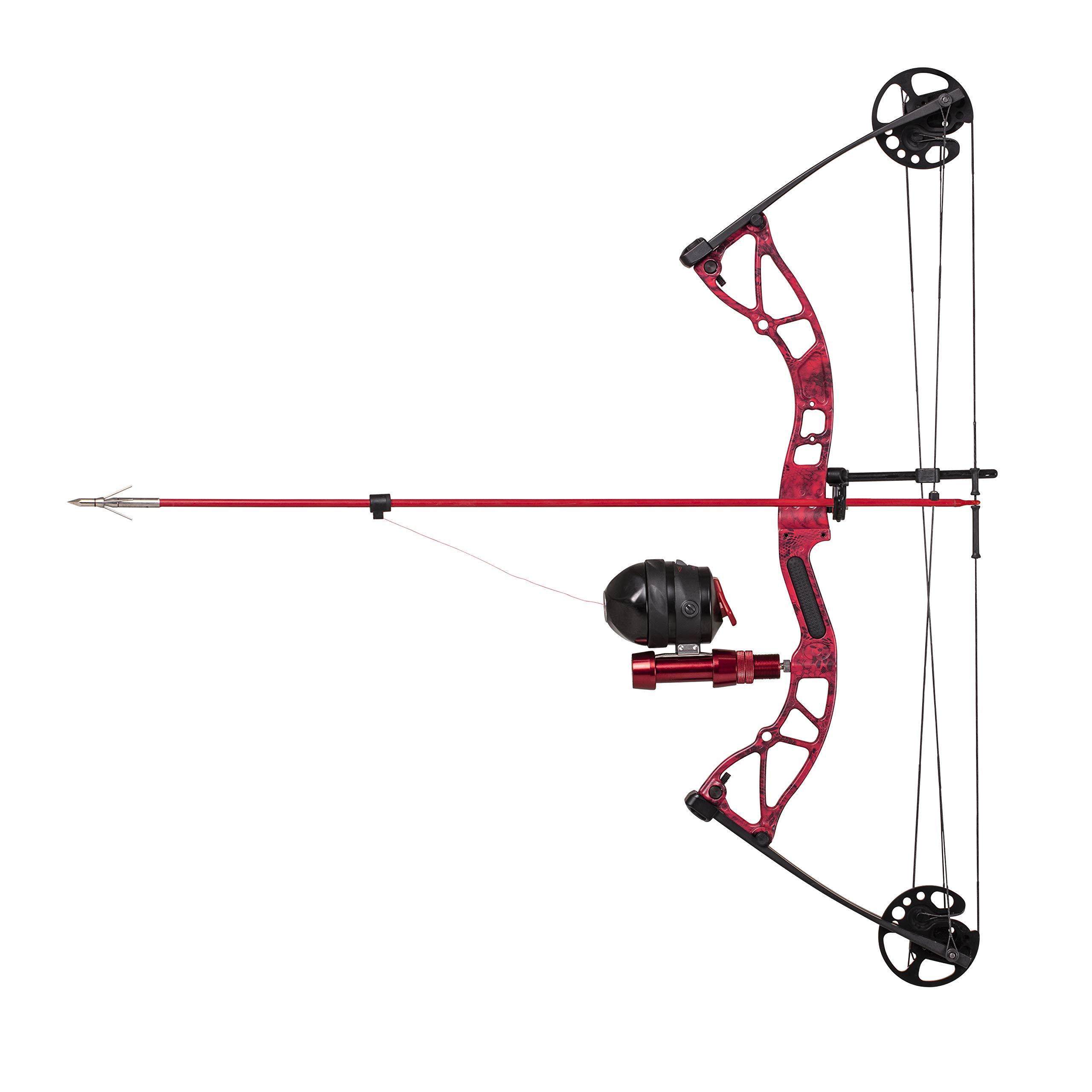 Cajun Bowfishing Shore Runner Kit Compound Bowfishing Bow Ready to Fish Kit with Arrow Rest, Bowfishing Reel, Reel Seat, Blister Buster Finger Pads, Fiberglass Arrow, Red/Black by Cajun Bowfishing