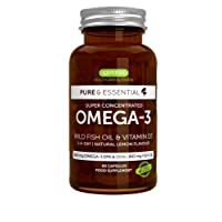 Pure & Essential Omega-3 EPA DHA 660mg & Vitamin D3 1000iu, Omega-3 rTG Concentrate from Wild Fish Oil, 60 Capsules
