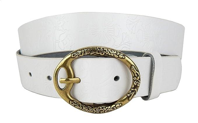 Ella Jonte ceinture femme blanc en cuir avec boucle à ardillon 3,3 cm  largeur bec318b69c3